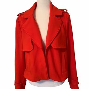Zara Red Open Front Cropped Trench Coat Large